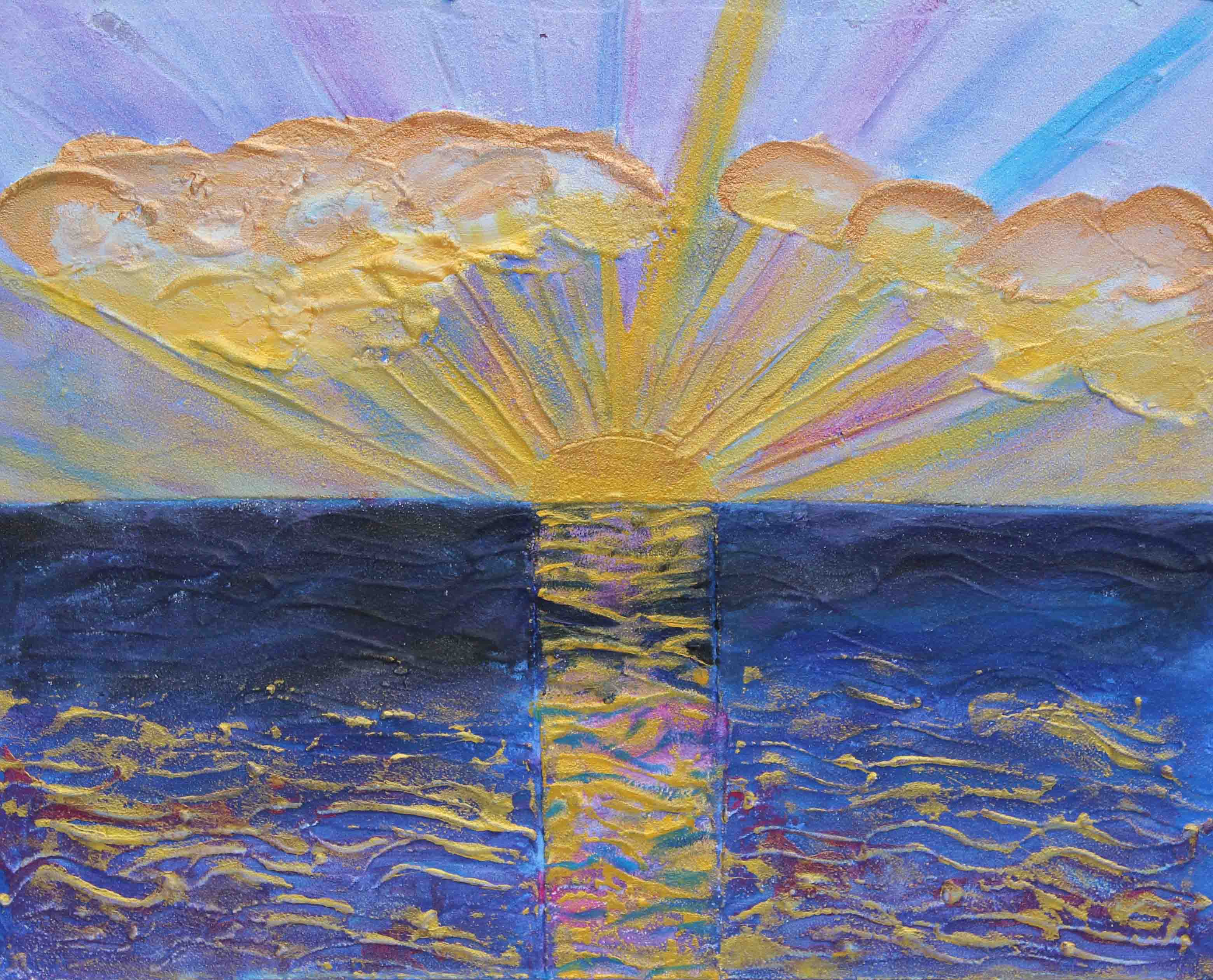 The Suns Rays Hit the Clouds Acrylic on Board by Luke McEwen